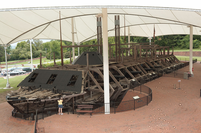 The USS Cairo, a Federal gunboat, employed in the capture of Vicksburg and securing the Mississippi River for Union control. The Cairo is the first warship sunk by a torpedo (modern-day mine). The blast tore a hole in the port bow as can be seen above.  The gunboat is on display at Vicksburg National Military Park.