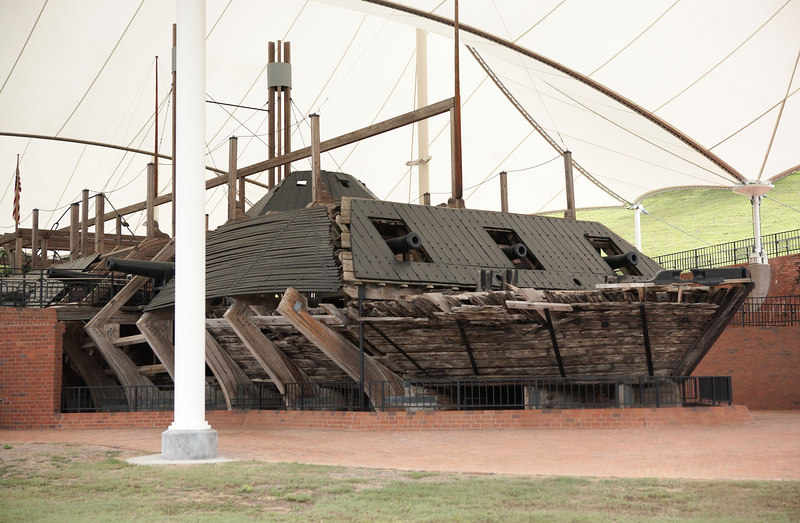 The USS Cairo, a Federal gunboat, employed in the capture of Vicksburg and securing the Mississippi River for Union control. The Cairo is the first warship sunk by a torpedo (modern-day mine). The blast torn a hole in the port bow.