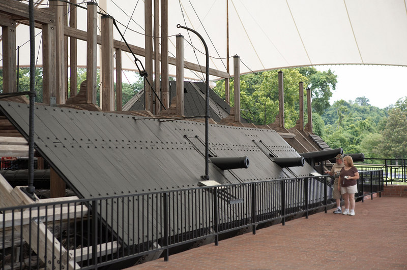 The USS Cairo, a Federal gunboat, employed in the capture of Vicksburg and securing the Mississippi River for Union control. The Cairo is the first warship sunk by a torpedo (modern-day mine).
