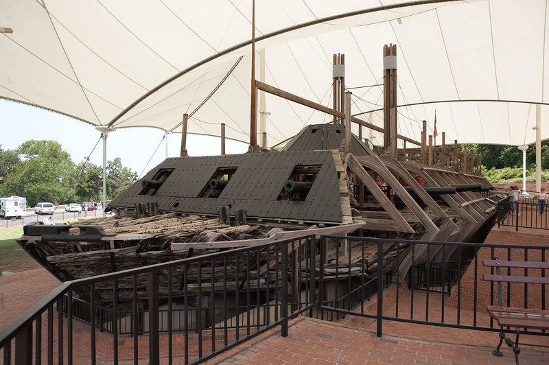 The USS Cairo, a Federal gunboat, employed in the capture of Vicksburg and securing the Mississippi River for Union control. The Cairo is the first warship sunk by a torpedo (modern-day mine). The blast torn a hole in the port bow as can be seen above.
