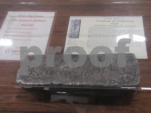 A large silver bar from the Spanish galleon Atocha was on display.