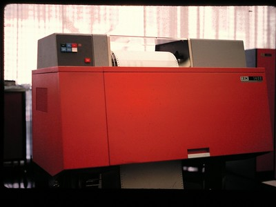 IBM 1401 line printer, prints 1000 lines per min. http://en.wikipedia.org/wiki/IBM_1403