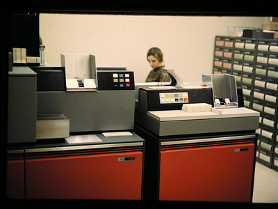 Left IBM 1442 card punch and reader Right IBM 2501 card reader, reads 1000 80 column cards per min.