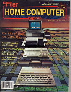 1983, 99er magazine focusing on the Texas Instruments computer.