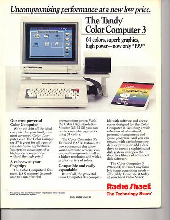 Radio Shack Tandy Color 3 computer