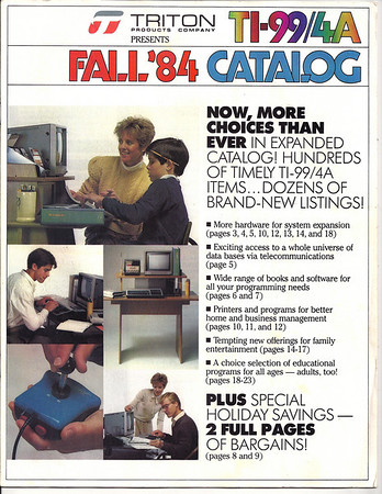 1984 Triton catalog of TI99/4a products.
