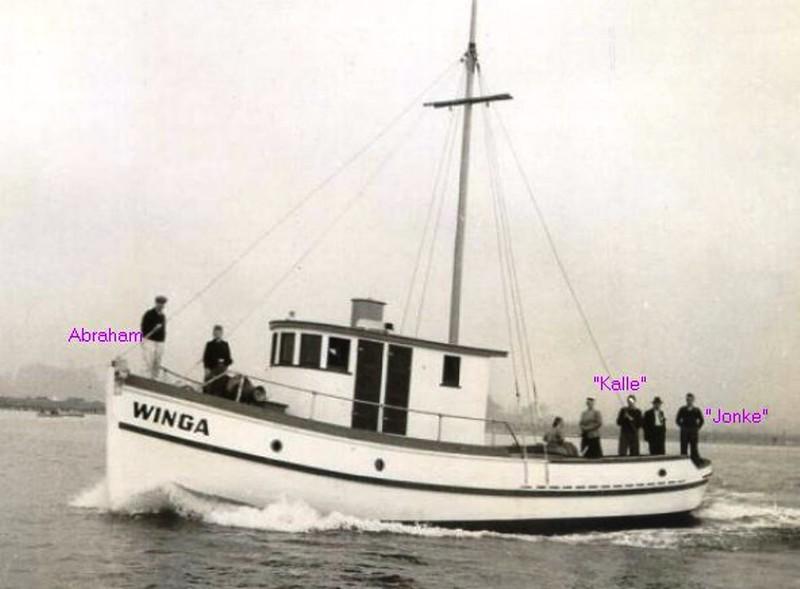 Winga  Built 1939  Coos Bay Boat Yard  Builder  Abe Elfving  Owner G A Hunter  Sea Trials  Jonke Elfving Stern