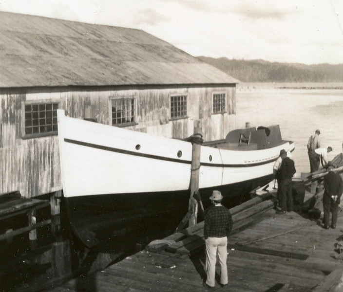 Five Brothers  Launching  1938  Builder  Abe Elfving  Coos Bay Boat Co  Arthur Graham