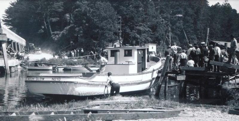 Launching Moon GLow at Makelas Boat Shop 1947  Fort Bragg  Eldred Johnson  Joe Perry  Robert  Higgs  John Pedro