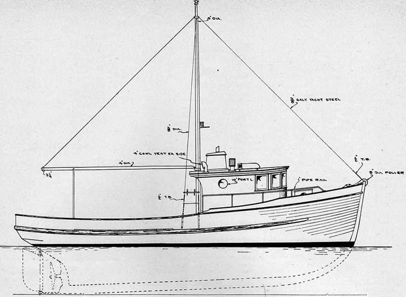 Edwin Monk and Lorne  Garden Design 1949 38ft Combination West Coast Boat  One Built for W P Wyvel for Washington Coast