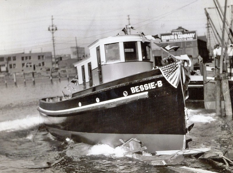 Bessie B  Eastwind 1935 Launching Marine Boat and Engine Wks  Seattle Nakat Packing Cecil Pfundt James Kyle Tony Bravo Jeff Murray