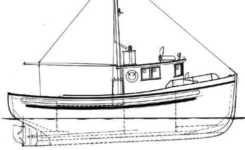 Blue Print Drawing 1940's West Coast Troller 38-43FT Double Ender Galley On Deck