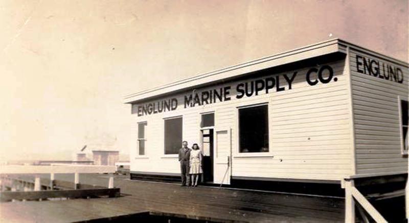 Englund Marine Store Astoria July 22 1944  Hiram Johnson  Helen Koski Standing