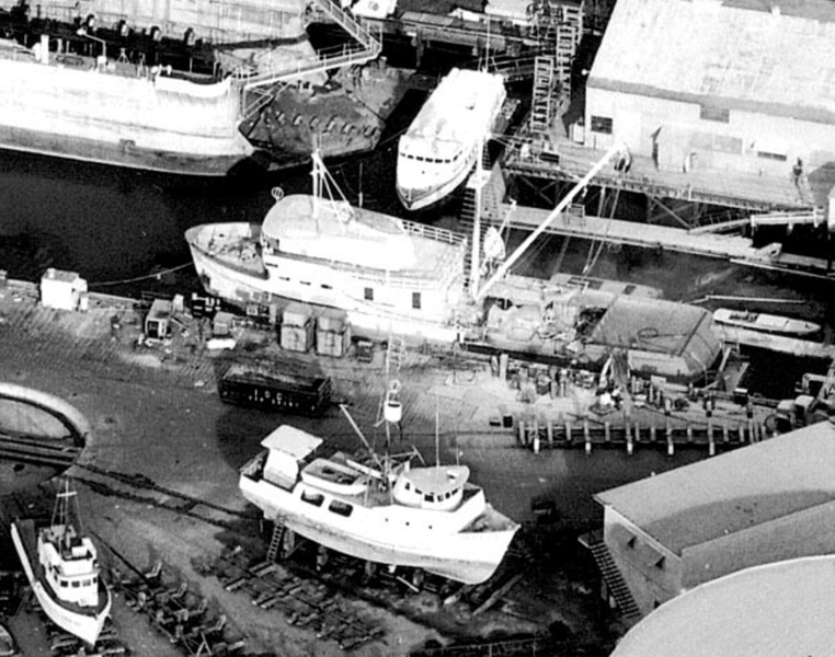 Fellows and Stewart Shipyard  Terminal Island  Dec  1969  Upper  Seiner  Determined  Lower middle  61 FT  Pacific Sun  Built 1967 Fountain Valley  Ora Easton