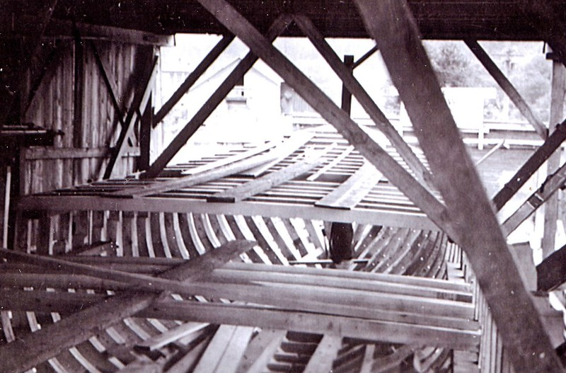 Ruth Ellen Under Construction  Coos Bay Boat Co   1943  For Hall Brothers  Later named Linda Ellen