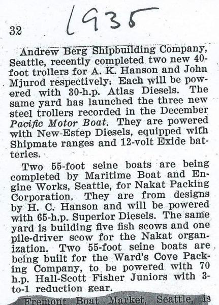 1935 1936  Andrew Berg Shipyard  Maritime Boat and Engine  Seattle
