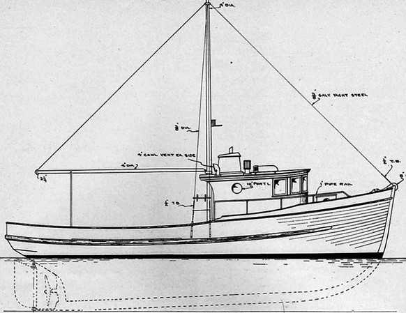 Blue Print Drawing For 38ft Troller 3 Built in 1949 Designed By Edwin Monk and Lorne Gardner