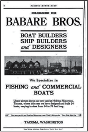 Babare Bros Shipyard Founded 1909  Tacoma Nick and George  Sons of Stephen Babare