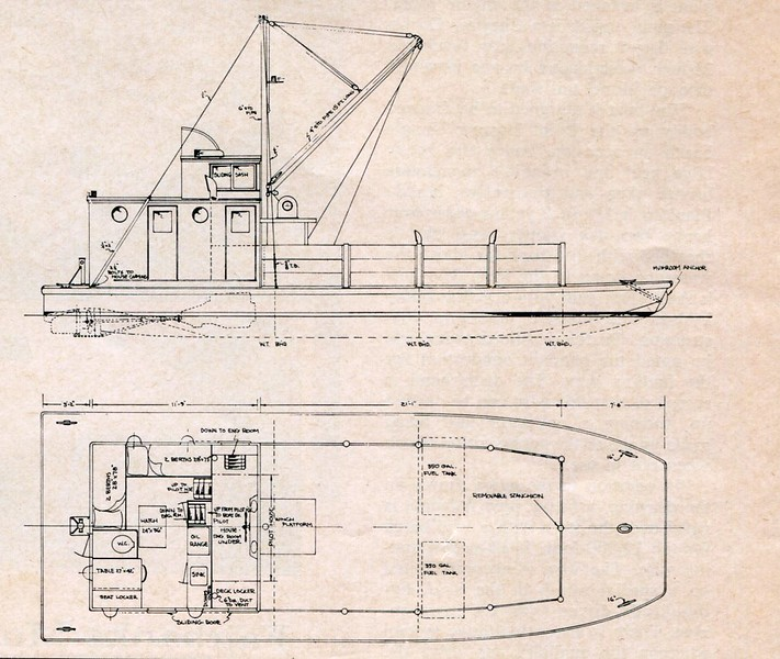Duwamish Shipyard Power Scow Drawing Steel Scow For Cordova 44x16 Power 2 Chrysler Crowns