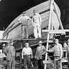 Ruth Ellen 1943 Planking  Builder Abe Elfving Far Left  Coos Bay Boat Shop 1943