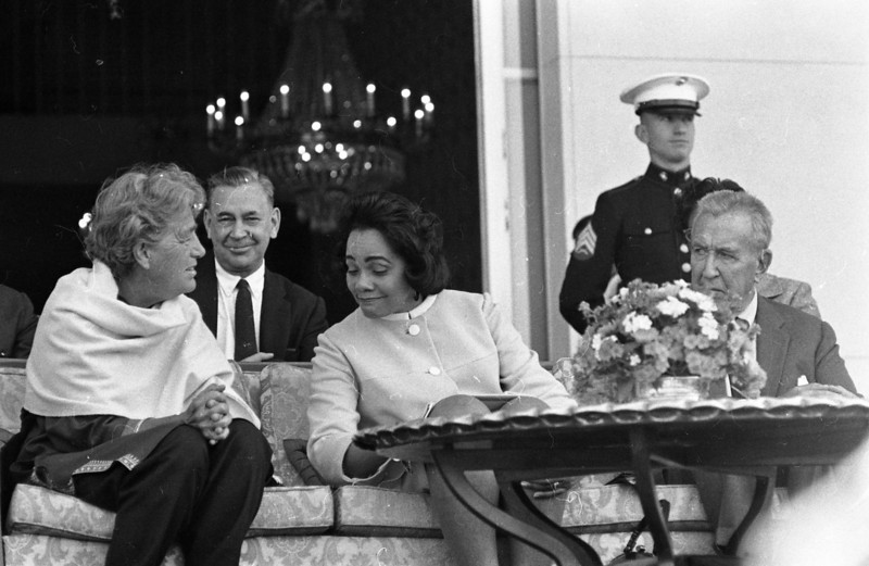 From left, Stebb Bowles, Deputy Chief of Mission Galen Stone (?), Coretta Scott King, and Ambassador Chester Bowles.