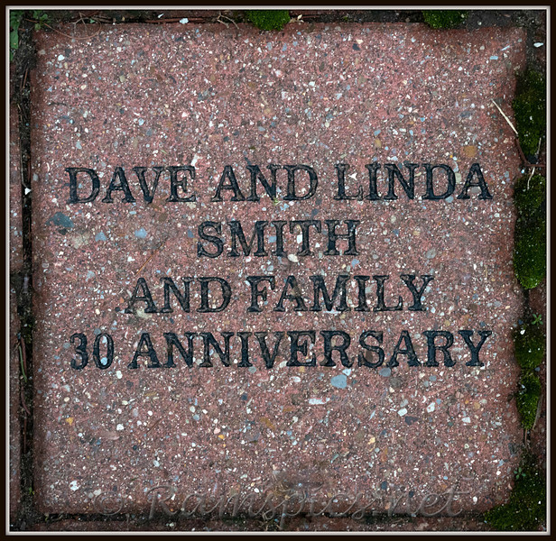 One of dozens of commemorative bricks which periodically, are sold for fund raising. This particular brick was purchased by longtime supporters and board members Dave and Linda Smith.
