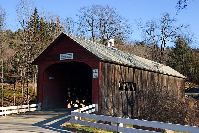 <center>Green River Bridge<br><br>Guilford, Vermont<br><br>This bridge was built in 1870 to span the Green River using the same abutments that held an older bridge that was destroyed in 1869.