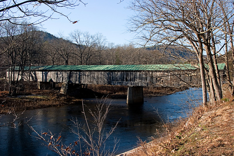 <center>Scott Bridge<br><br>Townshend, Vermont<br><br>No longer in use, this 1870 bridge spans the West River. It's a familiar sight to skiers on their way to Stratton.</center>