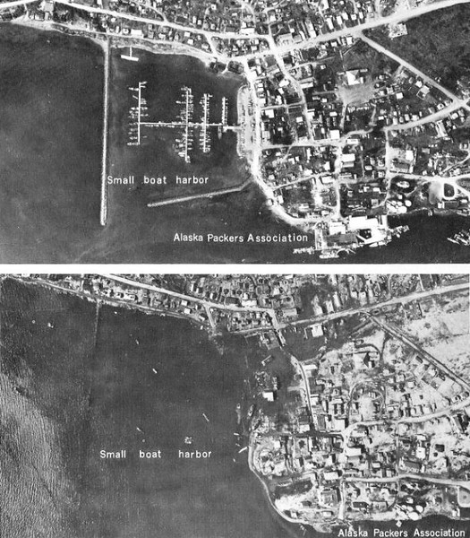 Kodiak  Before and After  March 27 1964  Quake and Tidal Wave