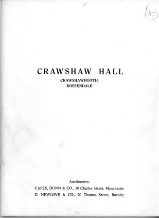 Crawshawbooth Crawshaw Hall Auction of Contents May 1975
