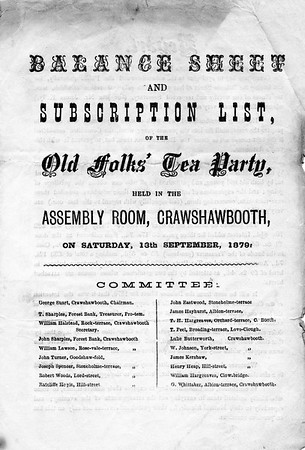 Crawshawbooth Old Folks T Party Balance Sheet and Subscribers 1879 1 Saturday, 13th September