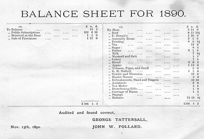 Crawshawbooth Old Folks T3 Party Balance Sheet and Subscribers 1890 September 20th