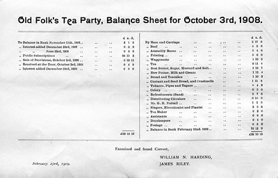 Crawshawbooth Old Folks T5 Party Balance Sheet and Subscribers 1909 Saturday, October 3rd