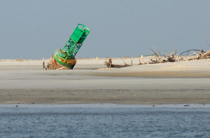 Buoy on the beach at North End of Little Cumberland Island as viewed from the ICW in St. Andrews Sound in Georgia