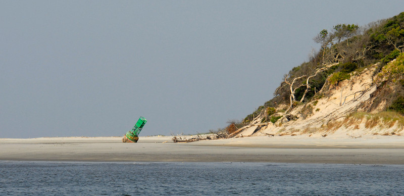 Buoy on the beach at the North End of Little Cumberland Island as viewed from the ICW in St. Andrews Sound in Georgia