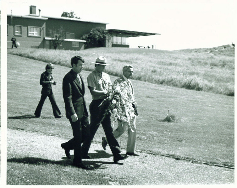 1. Ranger Phil Young with monument guests during the June 25, 1976 Centennial of the battle.
