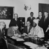 DWS Board with The Sardauna Kaduna. (seated from the left) Joe Williams, J. Clifford Whitaker (chairman) and  Harry H. Prestt.<br /> (standing) J.T. Beresford, S. F. Peace (company secretary) and Whitham Slater.