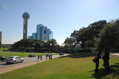 View of the road from the grassy knoll.