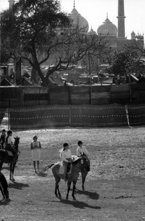 My sisters preparing to compete at a horse show, Red Fort, 1967. Jama Masjid mosque is in the background.