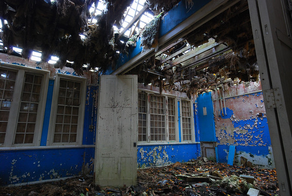 Round the corner,this classroom has decayed terribly due to missing roof tiles