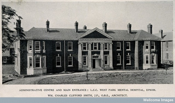 V0014867 West Park Mental Hospital, Epsom: view of the facade of