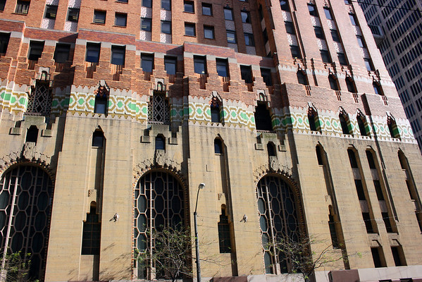 Record-Eagle/Loraine Anderson<br /> A closeup of the notched arch design, exterior tile, and orange brick make the Guardian Building hard to miss in along Griswold Street in downtown Detroit.<br /> It has been a National Landmark since 1989 because of its art-deco design.