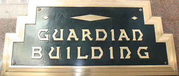 Record-Eagle/Loraine Anderson<br /> The Guardian Building nameplate outside the Griswold Street entrance.