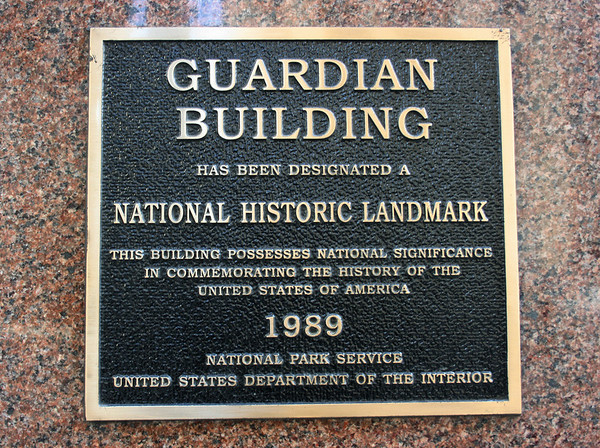 Record-Eagle/Loraine Anderson<br /> A plaque near the entrance of the Guardian Building<br /> gives details of its 1989 designation as a National Historic Landmark. It is considered one of the best examples  of early 20th century American art deco skyscraper architecture.