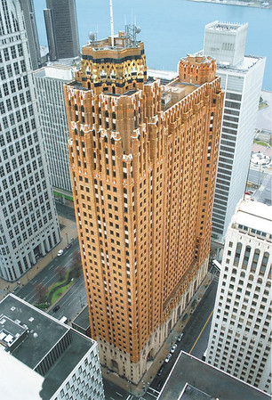 Courtesy of William R. Hosie<br /> An aerial photo of the Guardian Building at the corner of Griswold and Congress in downtown Detroit.