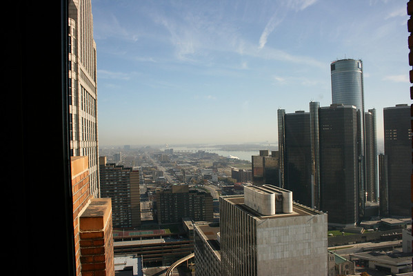 Record-Eagle/Loraine Anderson<br /> A view east from the 32nd floor shows the Renaissance Center on the right and the Detroit River. The 32nd floor originally housed the Guardian Building's private and public dining rooms.