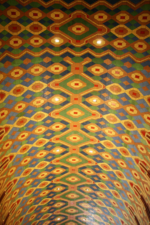 Record-Eagle/Loraine Anderson<br /> Record-Eagle/Loraine Anderson<br /> The vivid Rookwood mosaic in the ceiling of the Guardian Building's main lobby came from Ohio.  The tips of notched arches, an architectural theme used throughout the bulding, are visible in the lower corners.