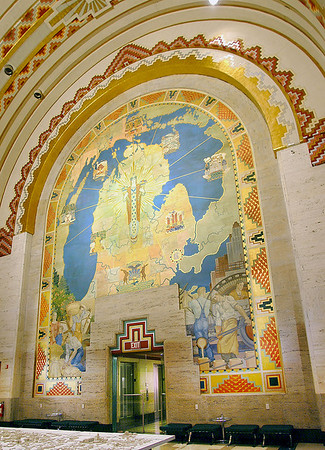 Special to the Record-Eagle/William R. Hosie<br /> <br /> Ezra Winter's three-story mural dominates the south end of the main banking lobby of downtown Detroit's Guardian Building. A Native American princess in the middle holds two horns of plenty. The mural celebrates Michigan's industry, agriculture and prosperity in the 1920s as the auto age catapulted Detroit and the state into the limelight as an important and growing industrial area.