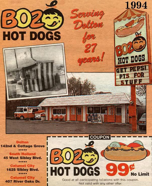 """BOZO HOT DOGS - DOLTON, IL - 1994<br /> Originally """"Bozo,"""" but legal action from the clown of same name required them to change. They just put a round face instead of the """"O."""""""