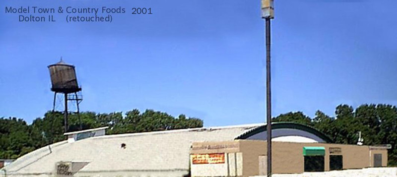 MODEL TOWN AND COUNTRY FOODS BUILDING - 300 W Sibley Blvd, Dolton, IL    <br /> Touched up and blurred--it's really in poor condition.  Water tower since taken down.  Built around 1961 and huge for it's time and a model for other grocery stores to copy from.